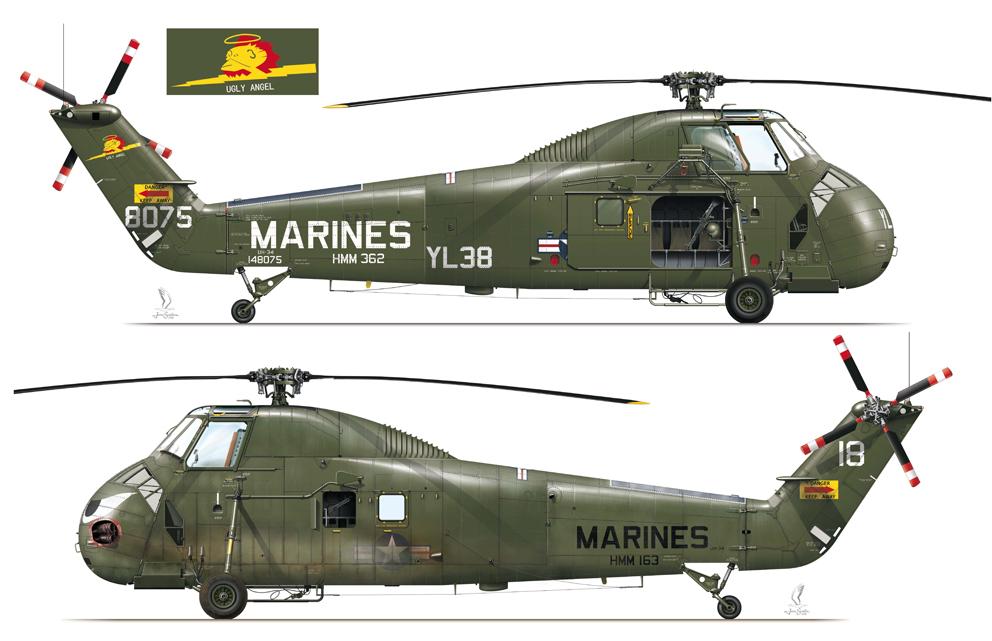 Las ilustraciones corresponden a sendos Sikorsky UH-34D Sea Horse de los escuadrones HMM-362 y HMM-163, respectivamente.